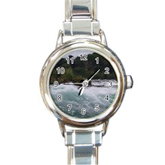 Sightseeing At Niagara Falls Round Italian Charm Watch by canvasngiftshop