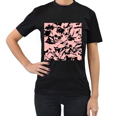 Old Rose Black Abstract Military Camouflage Women s T Shirt (black) (two Sided) by Costasonlineshop