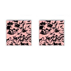 Old Rose Black Abstract Military Camouflage Cufflinks (square) by Costasonlineshop