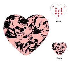 Old Rose Black Abstract Military Camouflage Playing Cards (heart)  by Costasonlineshop