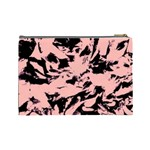 Old Rose Black Abstract Military Camouflage Cosmetic Bag (Large)  Back