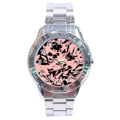 Old Rose Black Abstract Military Camouflage Stainless Steel Analogue Watch by Costasonlineshop