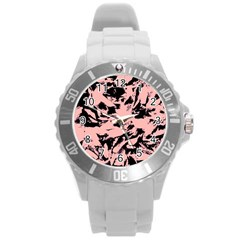 Old Rose Black Abstract Military Camouflage Round Plastic Sport Watch (l) by Costasonlineshop