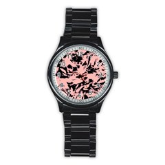 Old Rose Black Abstract Military Camouflage Stainless Steel Round Watch by Costasonlineshop