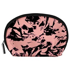 Old Rose Black Abstract Military Camouflage Accessory Pouches (large)  by Costasonlineshop