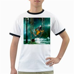 Funny Pirate Parrot With Hat Ringer T-shirts by FantasyWorld7