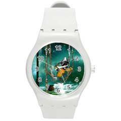 Funny Pirate Parrot With Hat Round Plastic Sport Watch (m) by FantasyWorld7