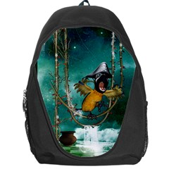 Funny Pirate Parrot With Hat Backpack Bag by FantasyWorld7