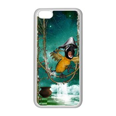 Funny Pirate Parrot With Hat Apple Iphone 5c Seamless Case (white) by FantasyWorld7