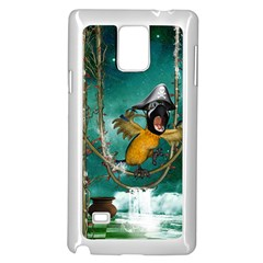 Funny Pirate Parrot With Hat Samsung Galaxy Note 4 Case (white) by FantasyWorld7