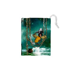Funny Pirate Parrot With Hat Drawstring Pouches (xs)  by FantasyWorld7