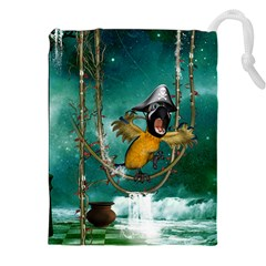 Funny Pirate Parrot With Hat Drawstring Pouches (xxl) by FantasyWorld7