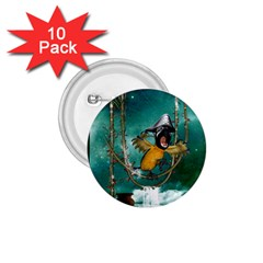 Funny Pirate Parrot With Hat 1 75  Buttons (10 Pack)