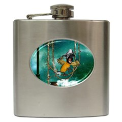 Funny Pirate Parrot With Hat Hip Flask (6 Oz)