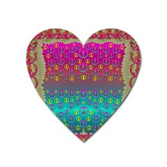 Years Of Peace Living In A Paradise Of Calm And Colors Heart Magnet by pepitasart