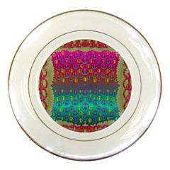 Years Of Peace Living In A Paradise Of Calm And Colors Porcelain Plates by pepitasart