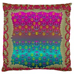Years Of Peace Living In A Paradise Of Calm And Colors Large Flano Cushion Case (one Side) by pepitasart