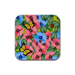 Floral Scene Rubber Square Coaster (4 Pack)  by linceazul