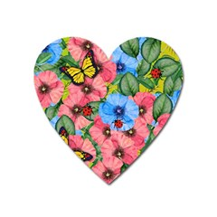 Floral Scene Heart Magnet by linceazul