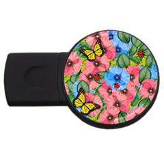 Floral Scene Usb Flash Drive Round (4 Gb) by linceazul