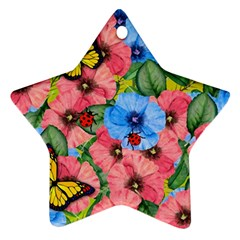 Floral Scene Star Ornament (two Sides) by linceazul