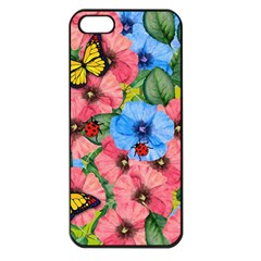 Floral Scene Apple Iphone 5 Seamless Case (black) by linceazul