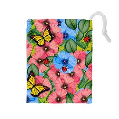 Floral Scene Drawstring Pouches (large)  by linceazul