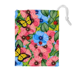 Floral Scene Drawstring Pouches (extra Large)