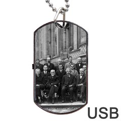 1927 Solvay Conference On Quantum Mechanics Dog Tag Usb Flash (two Sides) by thearts