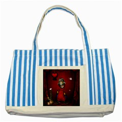 Funny, Cute Parrot With Butterflies Striped Blue Tote Bag by FantasyWorld7