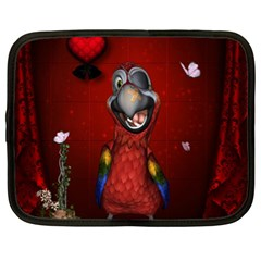 Funny, Cute Parrot With Butterflies Netbook Case (xxl)  by FantasyWorld7