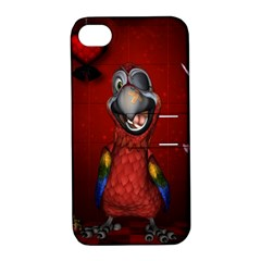 Funny, Cute Parrot With Butterflies Apple Iphone 4/4s Hardshell Case With Stand by FantasyWorld7