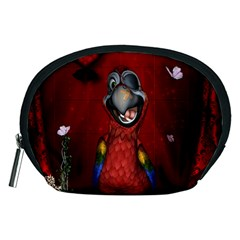 Funny, Cute Parrot With Butterflies Accessory Pouches (medium)  by FantasyWorld7