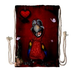 Funny, Cute Parrot With Butterflies Drawstring Bag (large) by FantasyWorld7