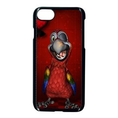 Funny, Cute Parrot With Butterflies Apple Iphone 7 Seamless Case (black) by FantasyWorld7
