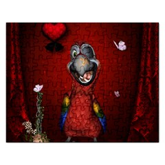 Funny, Cute Parrot With Butterflies Rectangular Jigsaw Puzzl by FantasyWorld7