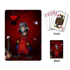 Funny, Cute Parrot With Butterflies Playing Card by FantasyWorld7