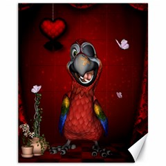 Funny, Cute Parrot With Butterflies Canvas 11  X 14   by FantasyWorld7
