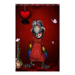 Funny, Cute Parrot With Butterflies Shower Curtain 48  X 72  (small)  by FantasyWorld7
