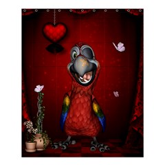Funny, Cute Parrot With Butterflies Shower Curtain 60  X 72  (medium)  by FantasyWorld7