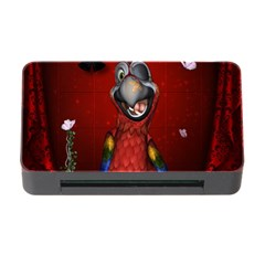Funny, Cute Parrot With Butterflies Memory Card Reader With Cf by FantasyWorld7