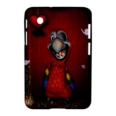 Funny, Cute Parrot With Butterflies Samsung Galaxy Tab 2 (7 ) P3100 Hardshell Case  by FantasyWorld7
