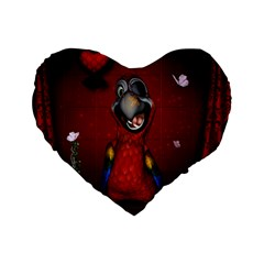 Funny, Cute Parrot With Butterflies Standard 16  Premium Flano Heart Shape Cushions by FantasyWorld7