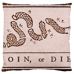 Original Design, Join Or Die, Benjamin Franklin Political Cartoon Large Cushion Case (one Side) by thearts