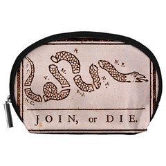 Original Design, Join Or Die, Benjamin Franklin Political Cartoon Accessory Pouches (large)  by thearts