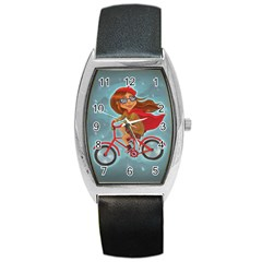 Girl On A Bike Barrel Style Metal Watch by chipolinka