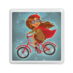 Girl On A Bike Memory Card Reader (square)  by chipolinka