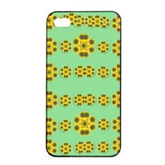 Sun Flowers For The Soul At Peace Apple Iphone 4/4s Seamless Case (black) by pepitasart