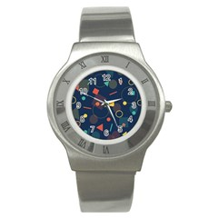 Blue Background Backdrop Geometric Stainless Steel Watch