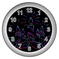 Advent Wreath Candles Advent Wall Clocks (silver)